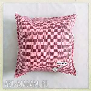 poduszka standard red - kwadrat, zygzak, czerwony