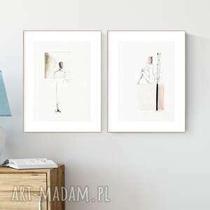zestaw 2 grafik a4 wykonanych ręcznie, abstrakcja, 2573759, obraz skandynawski