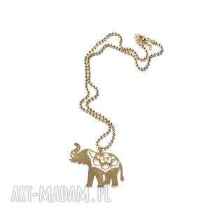ręcznie wykonane naszyjniki indian gold elephant