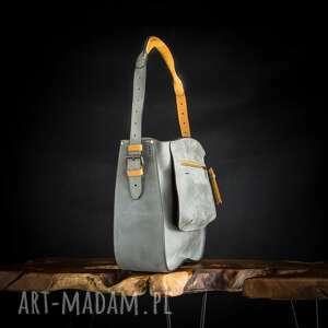ręcznie robione damska skórzana torebka w kolorze szarym z akcentami camelowym