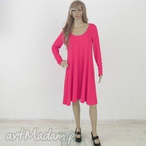 sukienki 71dł - sukienka rozkloszowana fuksja, sukienka, sukienki, dzianina