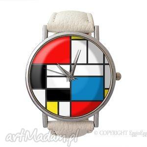 mondrian - skórzany zegarek z dużą tarczką egginegg