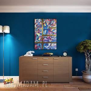 uciekające myśli 2, abstrakcja, kolory, płótno, akryl