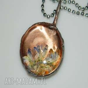 wisiorki szklane roślinne terrarium, wisior, wisior miedziany, unikalna biżuteria
