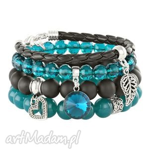 sea-green & black set with bead & pendants - blackstone, listek, morski
