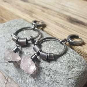 kolczyki kolczyki ze srebra z kwarcem różowym