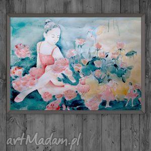 czary w różanym ogrodzie oryginalna akwarela, dziewczęca, baletnica