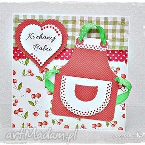 Kochanej Babci - kartka z fartuszkiem, kartka, fartuszek, dzień, babci, babcia