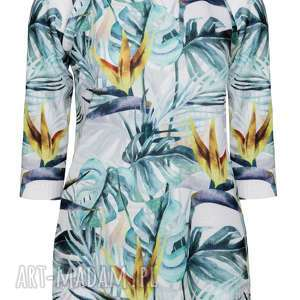 Letni sweterek , tropiki, print, dzianina, bluzka, kwiaty, strelicje