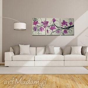 recznie malowane magnolie różowo fioletowe -120x50cm, obraz, magnolie, płótno