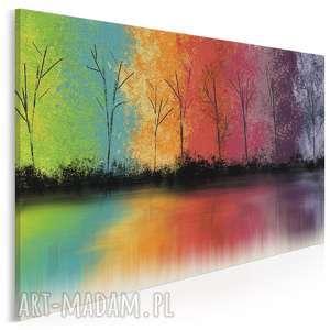 obraz na płótnie - drzewa kolorowy 120x80 cm 60801, drzewa