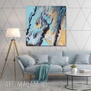 - miętowe wzgórze obraz do salonu - ręcznie malowany abstrakcyjny