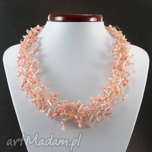 Różowy koral w oplocie i srebro - naszyjnik, koral, różowy, patyczki, oplot