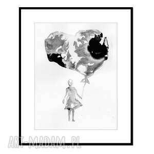 liquid heart, grafika, tusz, abstrakcja, obraz