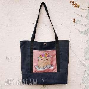 shopperka z kotkiem - ,torba,torebka,kot,haft,kotek,shopperka,