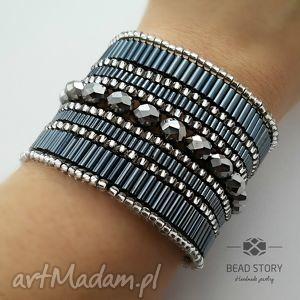 hematite treasure, elegancka, lśniąca, hematytowa, koraliki, kryształki biżuteria