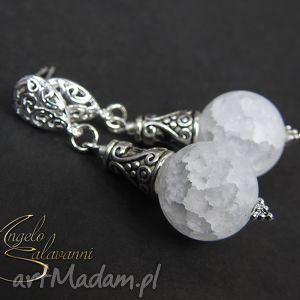 angelo kolczyki 4,5cm kryształ lodowy, kolczyki, kamień, kryształ, kula