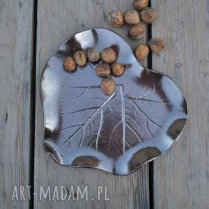 ceramika tyka patera dekoracyjna - talerz duży liść ceramiczny, ceramika