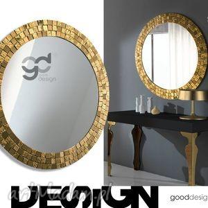 handmade dom duże okrągłe lustro dekoracyjne, aurea gold, fi 80 cm