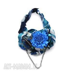 prezent na święta, deep blue naszyjnik handmade, niebieski, morski, kobalt, lazur