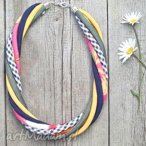 Kolorowy naszyjnik tekstylny - Pracownia Zolla rękodzieło, eco, kolorowy,