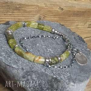 handmade bransoletki bransoletka srebrna z zielonym granatem grossular