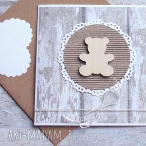 MIŚ :: KARTKA HANDMADE NA URODZINY, NARODZINY, miś, chrzest, chrzciny, narodziny