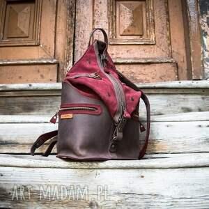 duży damski plecak w kolorach buraczkowym i brązowym od ladybuq art, rozmiar xl