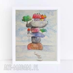 Paulina Lebida MIASTECZKO-akwarela formatu 18/24 cm