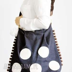 wyjątkowy prezent, torba w kropy, jeansowa, kropki, xxl
