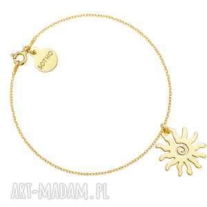 Złota bransoletka ze słońcem - ,bransoletka,słońce,modowy,trendy,żółte,złoto,