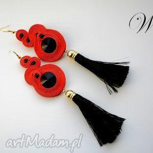 kolczyki sutasz czerwono czarne, sutasz, kolczyki, chwosty, wizytowe, eleganckie