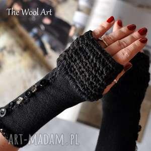 rękawiczki mitenki, rękawiczki, ocieplacze, wełniane, mankiety