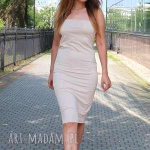 handmade sukienki letnia zwiewna sukienka tuba kolor ecru