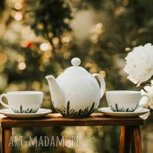zestaw porcelanowy imbryk i dwie filiżanki kwitnąca łąka, prezent ślubny
