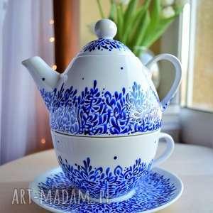 zestaw do herbaty ręcznie malowany kobaltowy, dla mamy, babci, kobiety