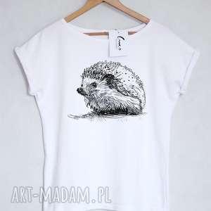 hand-made koszulki jeż koszulka bawełniana biała z nadrukiem s/m