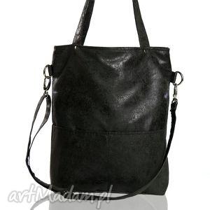 Elegancka zamszowa torebka A4 do pracy, torba, czarna, z-personalizacją,