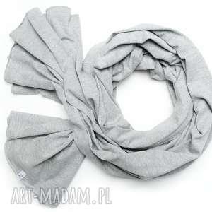 Długi szalik szal bawełniany szary melanż, duży damski chusta, modny na
