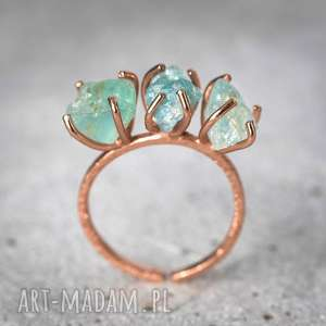925/18k Różowo pozł. pierścionek Akwamaryn, kamień, kamienie, minerały, akwamaryn