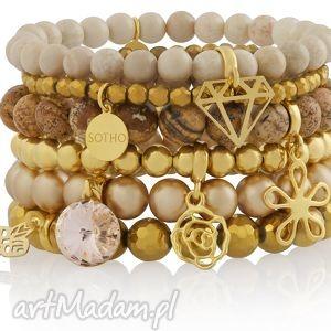 zestaw modowych bransoletek cielistych beżowych złotyc - bransoletki