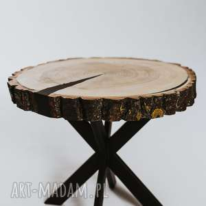 Stolik okrągły topolowy z plastra drewna korą i czarną żywicą/sprzedany