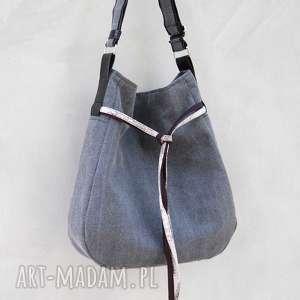 Simply bag - duża torba worek szare płótno na ramię incat worek