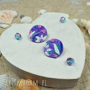 oryginalne fioletowe kolczyki kółka - wkrętki, małe kolczyki, kolorowe