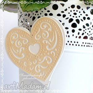 jelonkaa koronkowe serce - magnes, serce, koronka, ażur, miłość, lodówka dom