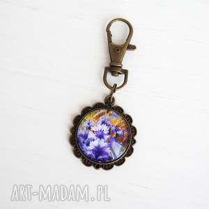 hand made breloki breloczek do kluczy - fioletowe chabry antyczny brąz