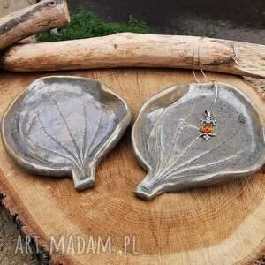 ceramika komplet 2 ceramicznych listków c302, talerzyki, liście, ceramiczne