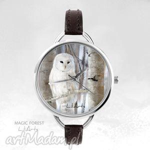 Prezent Zegarek - Biała sowa skórzany, ciemno brązowy, zegarek, bransoletka