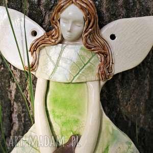 ręcznie wykonane pokoik dziecka ceramiczny leśny anioł do powieszenia