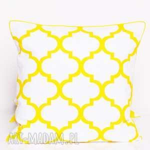 poduszka fresh yellow-white 40x40cm od majunto, koniczyna, koniczyna-marokańska